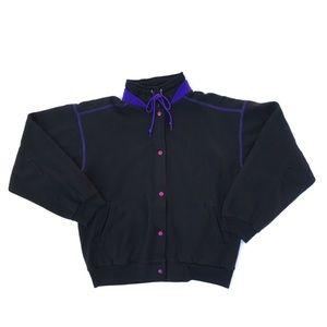 VTG Bolo Spirit Womens Sz M Black Snap Sweater